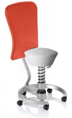 Aeris Swopper Classic - Bezug: Care / Weiß | Polsterung: Standard | Fußring: Titan | Universalrollen für alle Böden | mit Lehne und rotem Microfaser-Lehnenbezug | Körpergewicht: SMALL