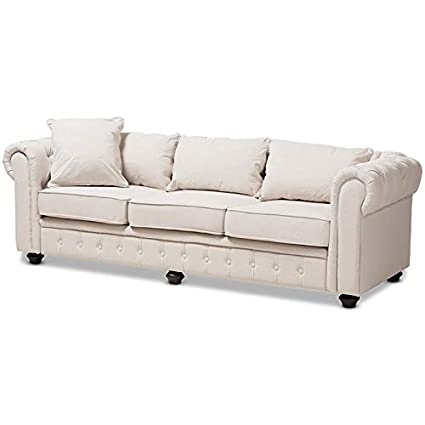 Amazon.com: Baxton Studio Alaise Tufted Chesterfield Sofa in ...