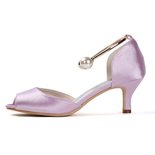 Altos Tamaño 6cm Tacones Buckle Heel 35 Bridesmaid Mujer Purple 43 L yc Peep Satin Boda De Evening Toe Zapatos aOzfqwxz