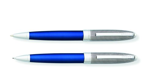 Cross Hamilton Ballpoint and Pencil Set, Chrome with Checkered Engraved Cap and Midnight Blue Lacquer ()