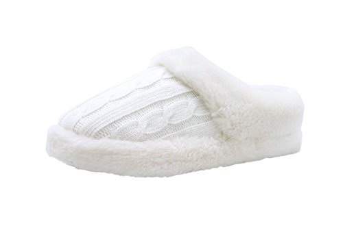 [The Best Gift for Spring! Hans & Alice indoor women slipper knit scuff slipper. (M, White)] (Furry Boots Cheap)