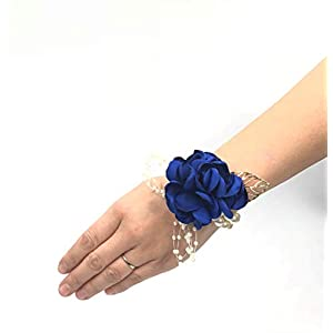 Abbie Home Decent Wrist Corsage for Prom Party Wedding Ball Event Silk Rose Rhinestone Hand Flower Classic Pearl Bracelet (Royal Blue) 8