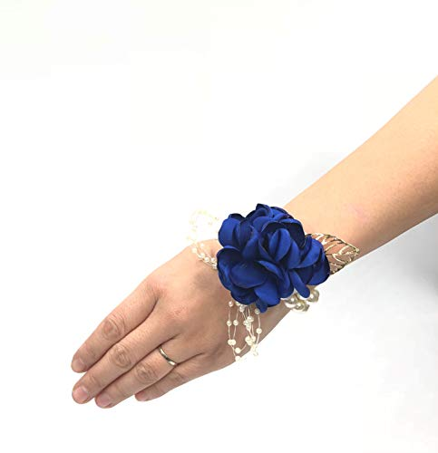Abbie Home Decent Wrist Corsage for Prom Party Wedding Ball Event Silk Rose Rhinestone Hand Flower Classic Pearl Bracelet (Royal Blue)