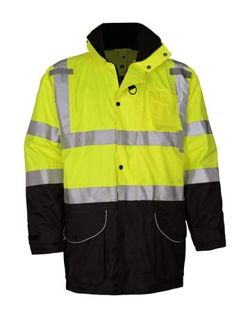 Brite Safety 7-IN-1 3M Scotchlite Waterproof All Seasons Jacket | Hi Viz Safety Jackets for Work | ANSI 107 Class 3 Compliant (Large, Lime)