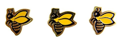 Bee School Mascot Gold Toned with Enamel Lapel Pin, Pack of 3