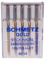 Schmetz Gold Titanium Embroidery Needles Size 90/14 (Embroidery Home Needles Machine)