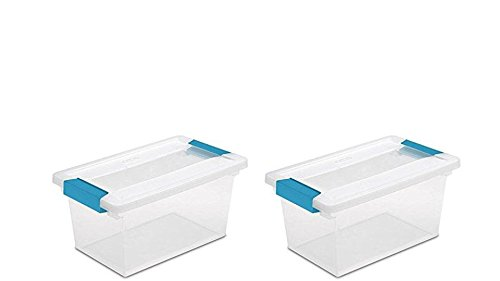 STERILITE 19628604 Medium Clip Box, Clear with Blue Aquarium Latches (2-Pack)