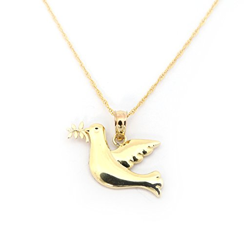 (Beauniq 14k Yellow Gold Peace Dove Pendant Necklace - Pendant only )