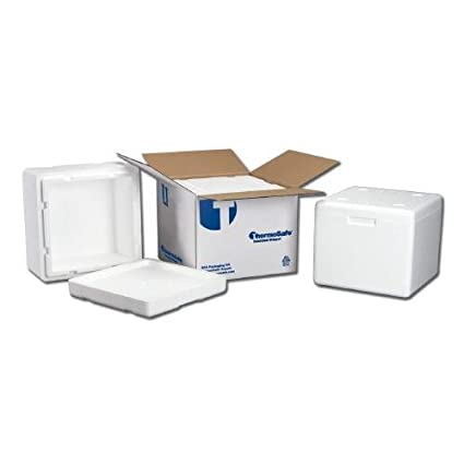 """ThermoSafe 318 EPS Foam Multi Purpose Dome Style Insulated Shipper Container with Corrugated Carton, 1.5"""" Wall Thickness, 11"""" L x 9"""" W x 7.25"""" H (Case of 12)"""