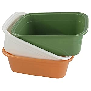 Cadine 3-Pack Plastic Washing Basin Bowl, Colorful Rectangular Cleaning Wash Bowl Basin
