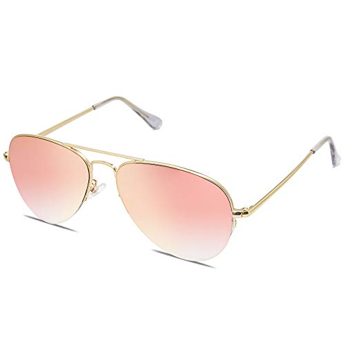 SOJOS Men's Women's Aviator Sunglasses, Classic Semi Metal Frame INSPIRATION SJ1106