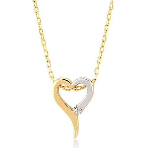(Gelin 14k Yellow-White Gold 0.01 Carat Real Diamond Simple Heart Pendant Necklace Women - Certified Fine Jewelry Gift Birthday, 18 inc)