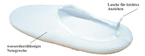 Anti-slip shower shoes - More traction on slippery, wet floor, reduces accident risk, XL - more safety - better hygiene - in the shower, on tiles - at the swimming-pool - at the sauna - netted fabric, permeable to water - on journeys - ea