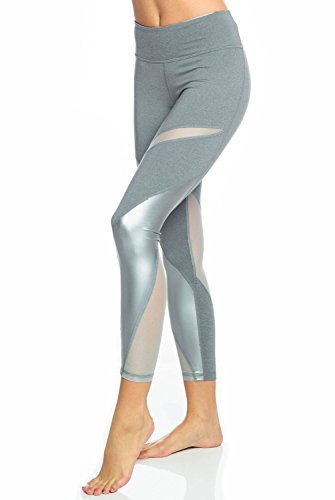 Haute Body Active Front Row Legging-Grey-L Womens Active Workout Yoga Leggings Grey