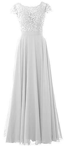 Dress Mother Long Gown Evening Of Bride Formal Women Sleeves Macloth Lace Cap White 0wxpnPHq8