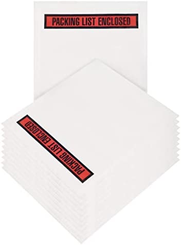 Packing List Envelopes 4 x 5.5 Packing List Enclosed 4 x 5 1/2 Pack of 100 Adhesive Pouches for Invoice Packing Slip. 2 mil Clear Plastic Bags. Red Panel. Back Side Document Loading Packaging.