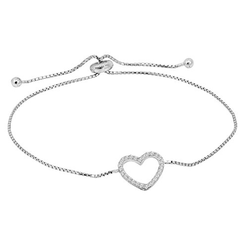 Amanda Rose Cubic Zirconia in Sterling Silver Open Heart Bolo Bracelet (Adjustable 4-10 inches)