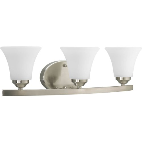 Progress Lighting P2010-09 Adorn Collection 3-Light Vanity Fixture, Brushed Nickel