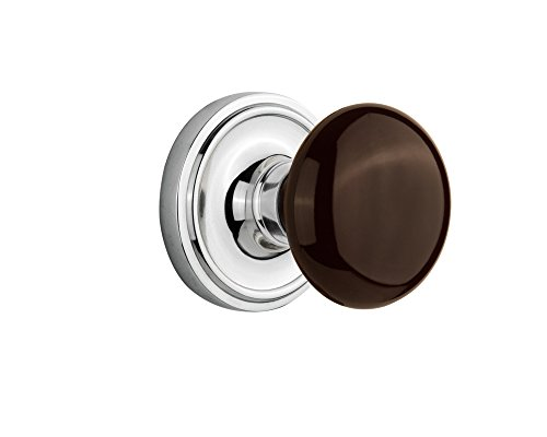 Nostalgic Warehouse Classic Rosette with Brown Porcelain Door Knob, Privacy - 2.375
