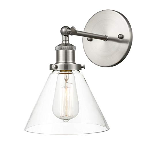 Light Society Cruz Wall Sconce, Clear Glass Shade with Brushed Nickel Finish, Modern Industrial Lighting Fixture (LS-W129-SN)