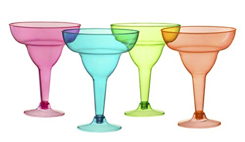Plastic Margarita Glasses Cups | 36 Pack | Disposable Cinco De Mayo Cup | Fiesta Party Decoration Taco Party Supplies | Neon Cocktail Cups | Mexican Theme for Carnivals Festivals | Dia De Muertos, Coco Theme | 12 Oz