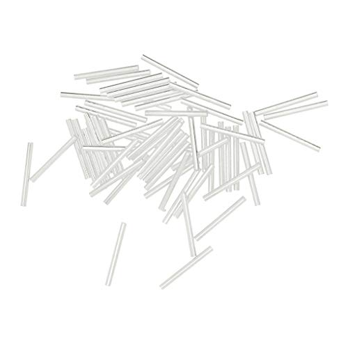 - Baosity 50x 20x2mm Smooth Long Straight Tube Noodle Bead Jewelry Making - Silver White