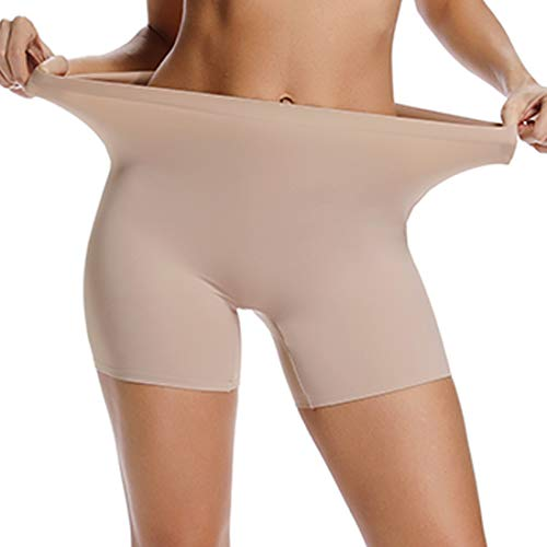 WOWENY Slip Shorts for Women Seamless Short Leggings High Waist Boyshort Panties Comfort Soft Stretch Underwear (Beige, Small)