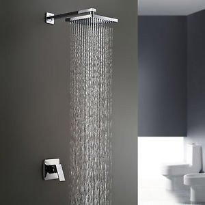 Wall Mount Bathroom Rain Bath Shower Faucet Mixer Set Bathtab Tap Single Handle - Shower Mixer Finish Set