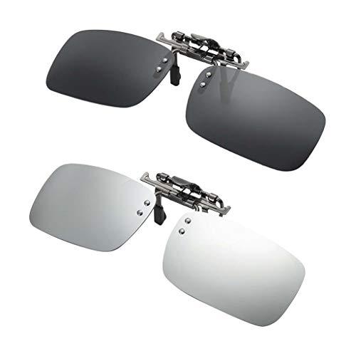 Baosity 2 Unids Gafas de Sol con Clip Lentes Polarizadas Protecciójn Solar UV 400 Regalo para Mujer Hombre - Color 3, Tal...
