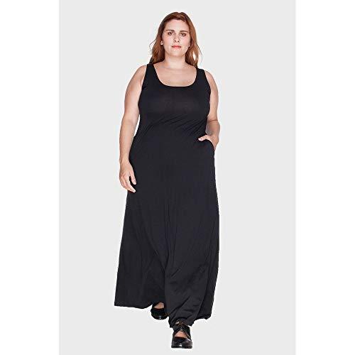 Vestido Regata Longo Plus Size Preto-46/48
