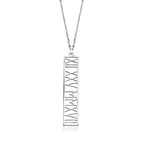 - Ross-Simons Sterling Silver Roman Numeral Personalized Date Pendant Necklace