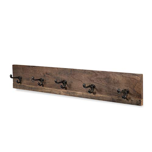 (Rustic State Wall Mounted Mudroom Entryway Coat Rack with 5 Cast Iron Double Hooks Wood Walnut 36 Inches Long)