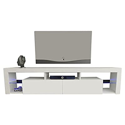 "Meble Furniture & Rugs TV Stand Milano 200 LED Wall Mounted Floating 79"" TV Stand"