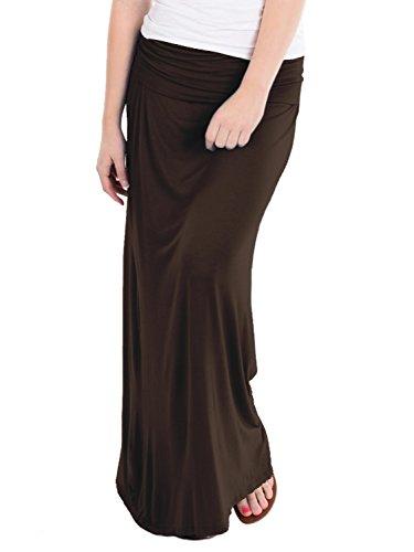 Nylon Petite Skirt - HyBrid & Company Women's Versatile Maxi Skirt/Convertible KSK3097 Brown Small