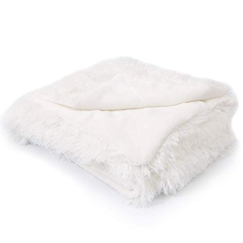 "Cheer Collection Reversible Throw Blanket | Long Shaggy Hair Faux Fur Accent Throw - 50"" x 60"" inches, White"