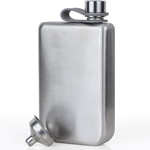 Vonwulf Liquor Hip Flasks and Funnel for Men, Stainless Steel, Classic Silver, 8 oz. - Thin Whiskey Flask Gift Set - Engraved Optional ()