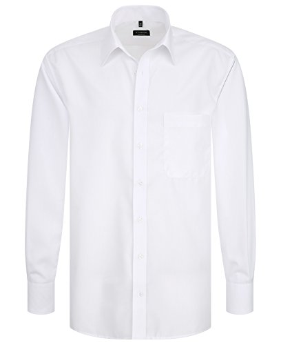 Eterna chemise pour homme taille 39–54 uni comfort fit en popeline blanc -  Blanc - Medium