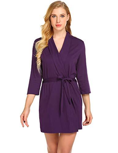 (Avidlove Women's Satin Kimono Robe Short Dressing Gown Silk Bridesmaid Robe, Solid Color)