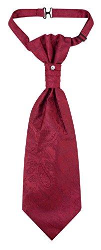 Color Paisley Necktie - Vesuvio Napoli PreTied ASCOT Paisley Solid BURGUNDY Color Cravat Men's Neck Tie