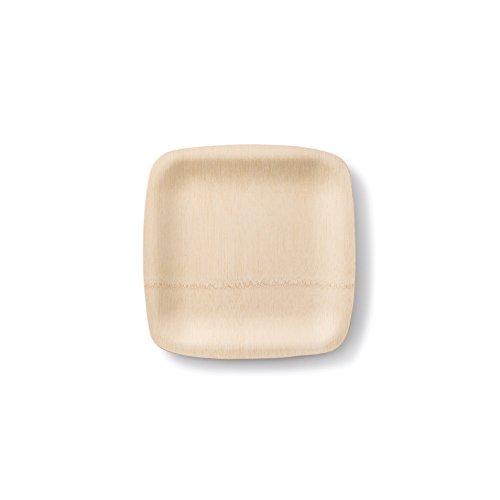 bambu, Veneerware Square Bamboo Plates - 9 Inches, -