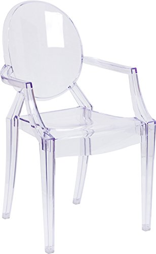 Emma + Oliver Oval Back Ghost Chair with Arms in Transparent ()