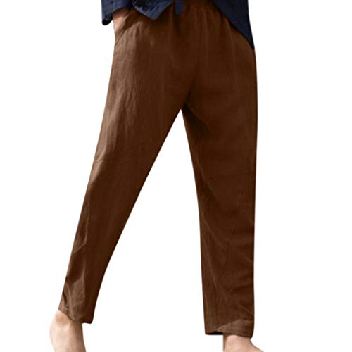 (Mens Vintage Summer Casual Solid Drawstring Cotton Linen Long Pants Trousers Brown)