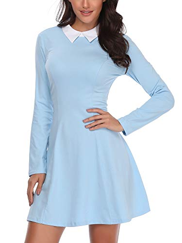 FENSACE Womens Long Sleeve Midi Skater Peter Pan Collar Dress SkyBlue