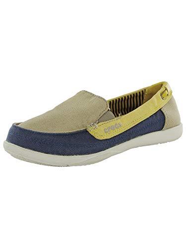 Crocs Womens Walu Canvas Loafer Slip On Shoe, Khaki/Canary, US 4