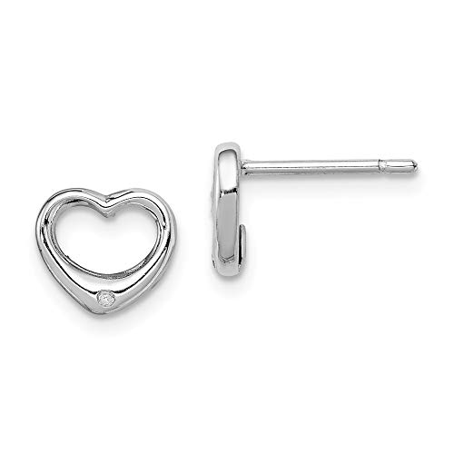 8mm Diamond Accent Open Heart Post Earrings in Sterling Silver