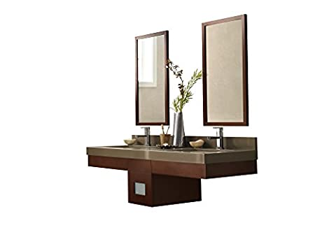 RONBOW Adina 59 inch Wall Mount Bathroom Vanity Set in Dark Cherry, Double Bathroom Vanity with Top and Backsplash in Green, Dark Cherry Bathroom Mirrors, White Ceramic Vessel Sink (Tall Double Sink Vanity)