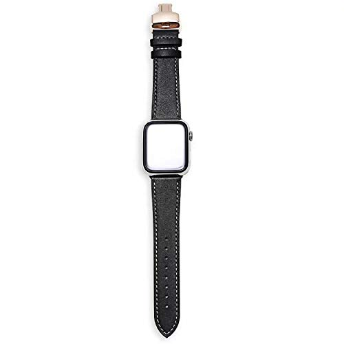 New Luxury Leather Watchband for Watch Band Butterfly 38mm 40mm 42mm 44mm Leather Strap for iWatch Bracelet Series 1 2 3 4,Black White Line,38mm and 40mm