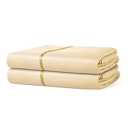 Beckham Hotel Collection Luxury Flat Sheet (2-Pack) - Luxurious Soft-Brushed Microfiber, Hypoallergenic and Stain Resistant - Queen - Cream (Sheet Ivory Flat)