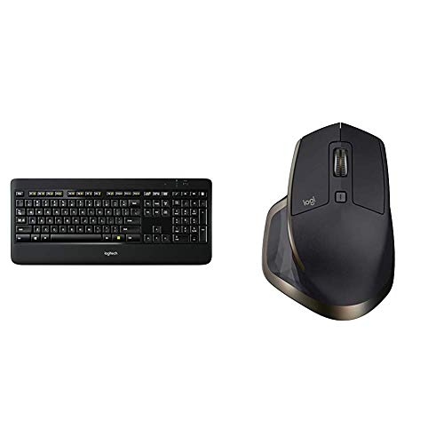 Logitech K800 Wireless Illuminated Keyboard — Backlit Keyboard, Fast-Charging, Dropout-Free 2.4GHz Connection & MX Master Wireless Mouse –High-Precision Sensor,Speed-Adaptive Scroll Wheel - Meteorite