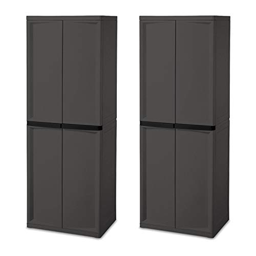 Sterilite Adjustable 4-Shelf Gray Storage Cabinet with Doors, 2 Pack | ()